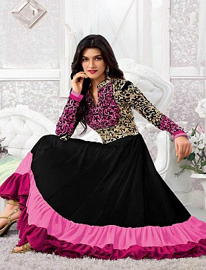 THANKAR KRITI SENON NEW PINK DESIGNER ANARKALI SUITS @ Rs1050.00